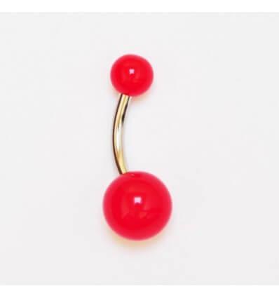 piercing do pupíku NEON - červený