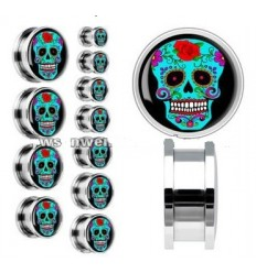 PLUG DO UCHA - SUGAR SKULL – MODRÁ