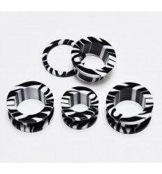 Akrylátový tunel do ucha zebra - černá + bílá
