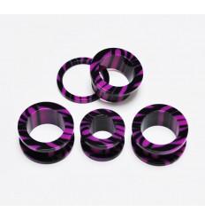 Akrylátový tunel do ucha zebra - černá + fialová
