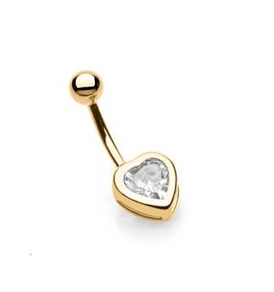 Piercing do pupíku - zlaté srdce
