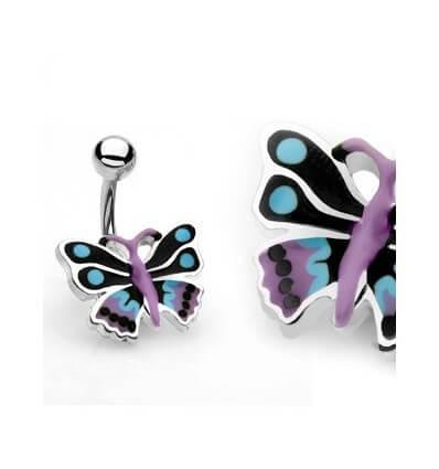 Piercing do pupíku - černo-fialový motýl