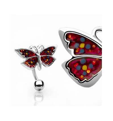 Piercing do pupíku - Červený motýl