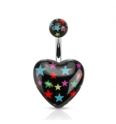 Piercing do pupíku - černé srdce s hvězdičkami