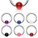 Kroužek s barevnou kuličkou