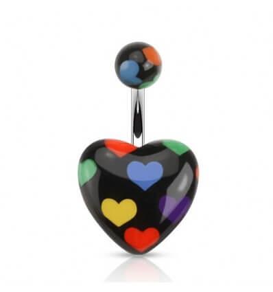 Piercing do pupíku - černé srdce se srdíčky