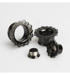 Ocelový tunel do ucha - India černý