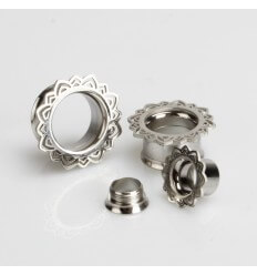Ocelový tunel do ucha - India stříbrný
