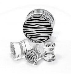 Akrylátový plug - zebra - průhledný