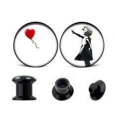 PLUG DO UCHA - BANKSY - BUTTON WITH BALLOON