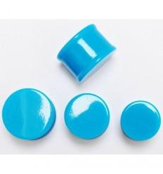 Akrylátový plug do ucha - Neon - modrý