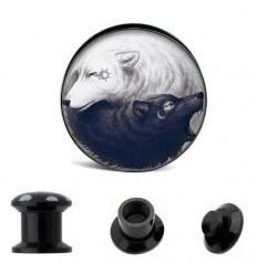 Akrylátový plug do ucha - Vlci-černý a bílý