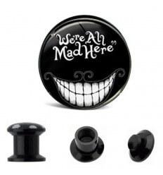 Akrylátový plug do ucha - We're All mad here
