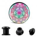 Akrylátový plug do ucha - Mandala-růžová