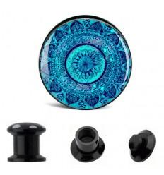 Akrylátový plug do ucha - Mandala modrá